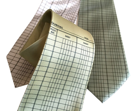 Accountant Necktie, Ledger Paper Silk Tie