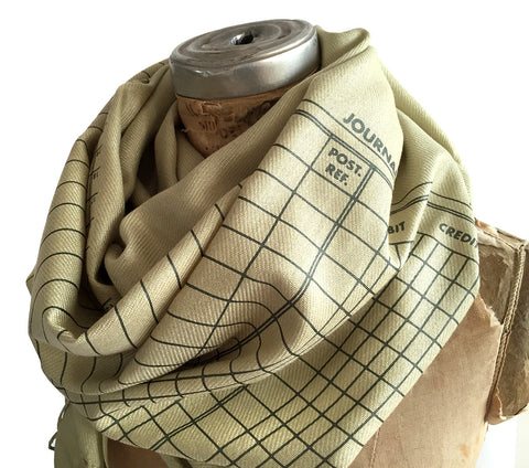Accountant Scarf. Ledger Paper pashmina