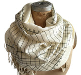 Cream Accountant Scarf. Ledger Paper linen weave pashmina by Cyberoptix