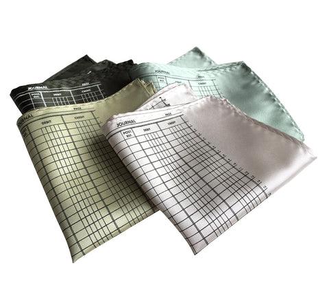 Accountant Pocket Square, Ledger Paper Print
