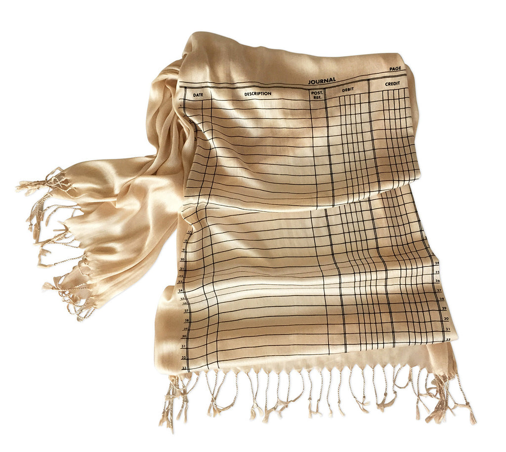 accounting scarf ledger paper luxe weight fringed scarf