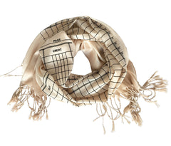 Accounting Scarf. Ledger Paper luxe weight fringed scarf