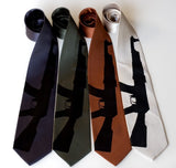 AK-47 necktie. Black on charcoal, olive, cinnamon, champagne microfiber.