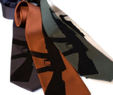 AK-47 tie. Black on charcoal, cinnamon, olive, champagne microfiber.
