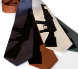 AK-47 rifle necktie. Black on charcoal, cinnamon, champagne microfiber.