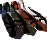 Automatic Weapon necktie. Black on charcoal, olive, cinnamon, champagne microfiber.
