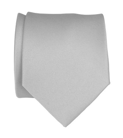 Aluminum Grey Necktie. Solid Color Silver Satin Finish Tie, No Print