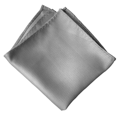 Aluminum Grey Pocket Square. Solid Color Fine-Stripe, No Print