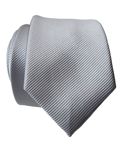 Aluminum Grey Necktie. Solid Color Fine-Stripe Tie, No Print