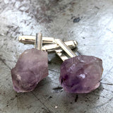 Amethyst Point Cufflinks, raw stone crystal cuff links