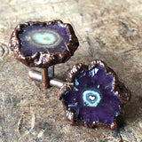 Amethyst Flower Stalactite Slice Cufflinks, electroformed copper cuff links