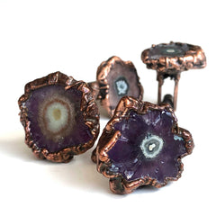 Amethyst Stalactite Slice Cufflinks, electroformed crystal cuff links