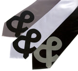 Ampersand ties. Black on silver, white, dove grey on black