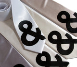 Ampersand Necktie. Black on white, silver, platinum, cream, champagne narrow ties.