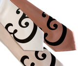 Fancy Ampersand neckties. Black on cream, champagne, pale copper