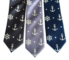 Anchor Necktie, Nautical Print Tie
