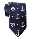 Navy Blue Anchor Necktie, Nautical Print Tie by Cyberoptix
