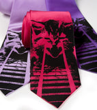 Laser Cat Necktie. Black on lavender, fuchsia, purple.