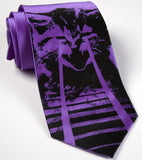 Laser Cat Necktie. Black on purple