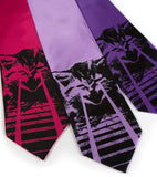 Angry laser Kitten ties. Black on fuchsia, lavender, purple