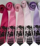 Laser Cat ties! Black print on fuchsia, hot pink, pink, light pink, lavender, white