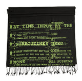 Apollo 11 Source Code Scarf. Chartreuse on black. Silkscreened Linen weave pashmina