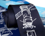 Apollo Soyuz Necktie, navy blue NASA tie, by Cyberoptix