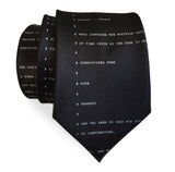 Apollo 11 Source Code Necktie, black. By Cyberoptix