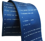 Apollo 11 Source Code Necktie, French Blue. By Cyberoptix