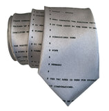 Apollo 11 Lunar and Command Module Source Code Necktie, silver. By Cyberoptix
