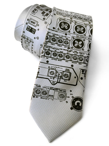 Apollo Cockpit Necktie. Fine-stripe Moon Lander tie