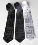 Rocket science Neckties. Dove grey on black, charcoal, white