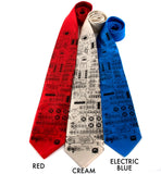 Apollo Cockpit NASA Neckties. Black on red, cream, electric blue silk.