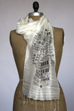 Black ink on cream silk scarf.