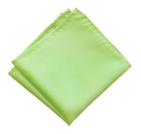 Apple Green Pocket Square. Light Green Solid Color Satin Finish, No Print