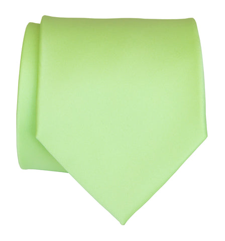 Apple Green Necktie. Light Green Solid Color Satin Finish Tie, No Print