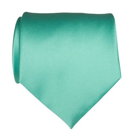 Aqua Blue Necktie. Blue-Green Solid Color Satin Finish Tie, No Print