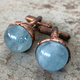 Aquamarine Sphere Cufflinks, Electroformed copper gemstone cuff links