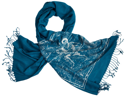 Aquarius & Capricorn Scarf, Zodiac Constellation Linen-Weave Pashmina