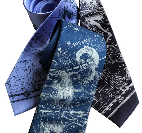 Aquarius Necktie, Zodiac Constellation Print Tie
