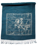 Aquarius & Capricorn Scarf, Silver on Teal Blue Astrology Pashmina, by Cyberoptix