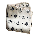 Cream and navy Anchor Print pocket square, by Cyberoptix.
