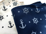 Anchor Print pocket square, by Cyberoptix. French blue and cream.