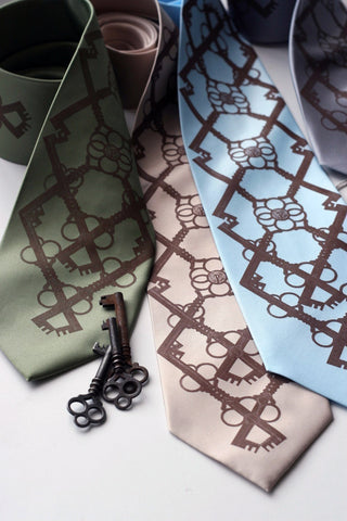 "Skeleton Keys Silk Tie ""Argyle Key"" necktie."