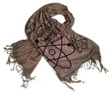 atomic print scarf, black on driftwood