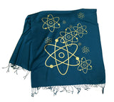Atomic pashmina scarf, gold on teal blue