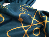 Atomic print scarf, gold on teal blue