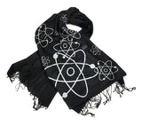 Atom pashmina scarf, silver on black