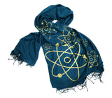 Atoms print scarf, gold on teal blue