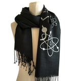 black and silver atomic print scarf